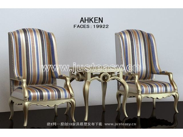 Elegant gold chairs monomer 3D Model