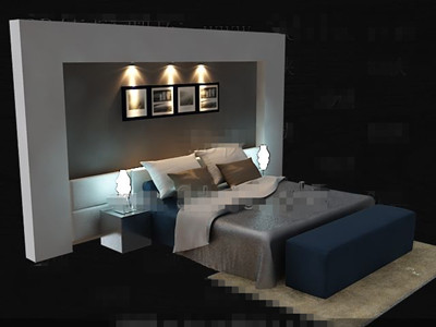 Elegant simple blue double bed 3D Model