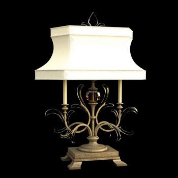 European classic white shade lamp 3D Model