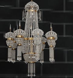 European crystal bead curtain chandelier 3D Model
