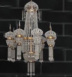 European crystal bead curtain chandelier 3D Model