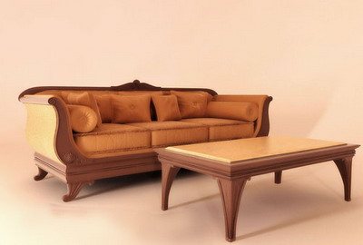 European Furniture Model: Leather Sofa and Coffee Table 3D Model