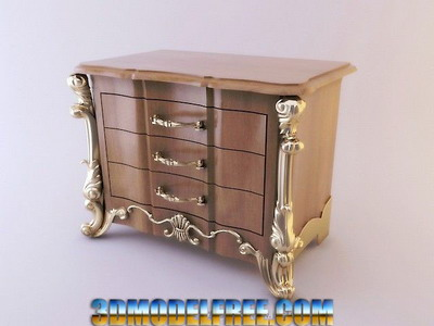 European Furniture Model: Metal Carved Cupboard 3D Model