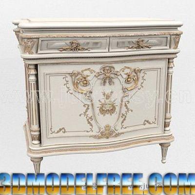 European Furniture Model: Victorian Carved Cabinet 3D Model