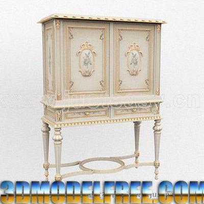European Furniture Model: Victorian Carved Cupboard 3D Model