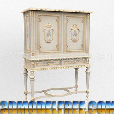 European Furniture Model: Victorian Carved Cupboard 3D Model