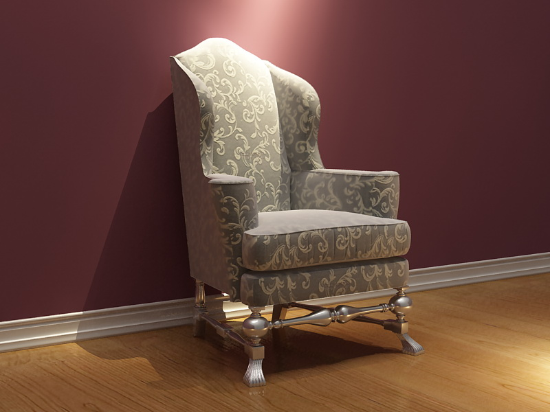European golden chair 3D model of single patterns (including materials)