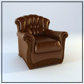 European leather sofas, 3D models