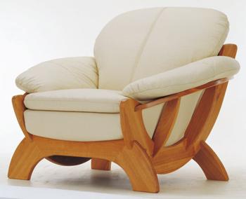 European light-colored leather sofa -1 3D Model
