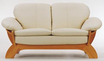 European light-colored leather sofa -2 3D Model