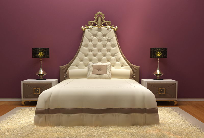 European luxury-bed 3D model (including materials)