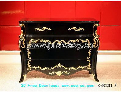 European luxury cabinet 3D model (including materials)