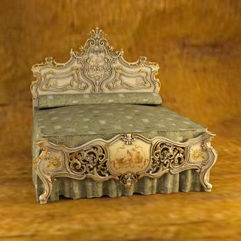 European luxury woodcarving bed 3D models