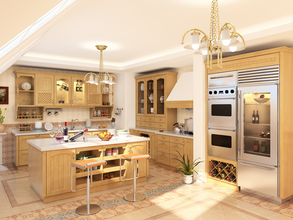 European Modern Style Kitchen 3D Model