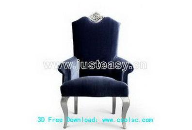 European plush chair 3D model (including materials)