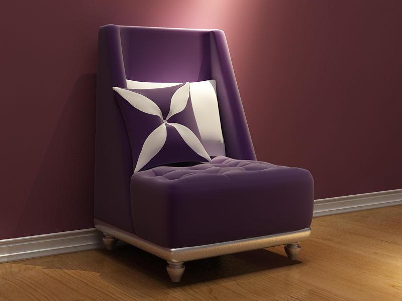 European purple single sofa 3D model (including materials)