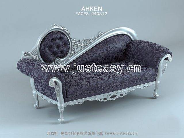 European purple sofa 3D Model