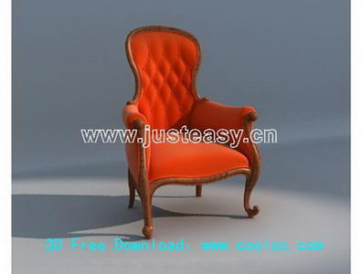 European Red Single sofa 3D model (including materials)