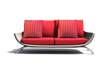 European red sofa 3D Model