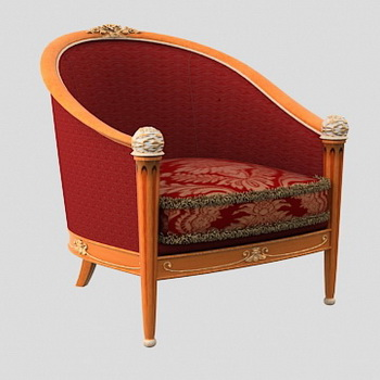 European red woodiness cloth art recreational sofa chair 3D models