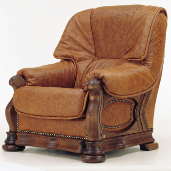 European retro dark leather single sofa 3D Model
