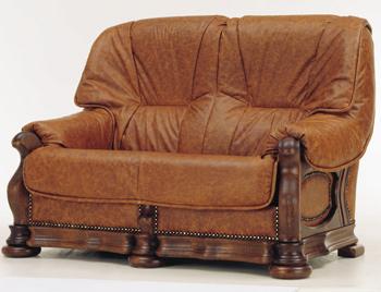 European retro dark leather sofa 3D Model