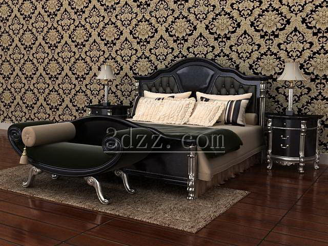 European simple style bedroom 3D Model