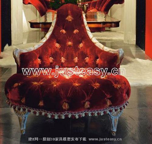 European Single sofa 3D model (including materials)