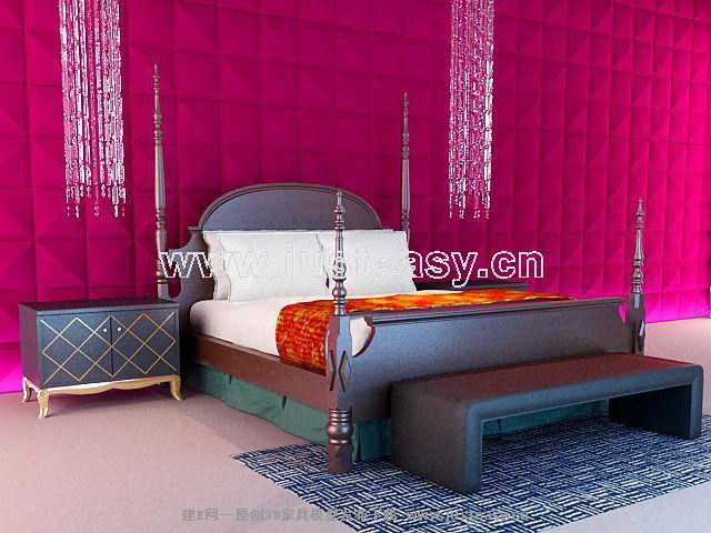European-style black wood bed 3D model of mood (including materials)