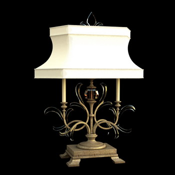 European style classic white shade lamp 3D Model