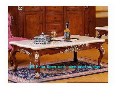 European-style coffee table 3D model (including materials)