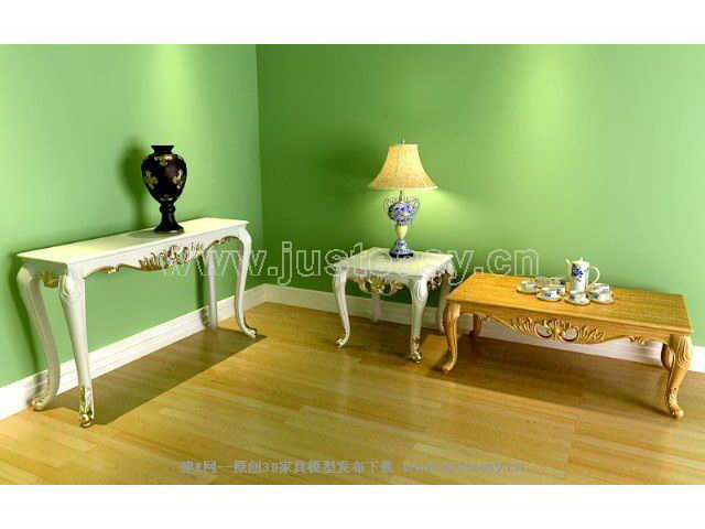 European-style coffee table combination of several case 3D Model