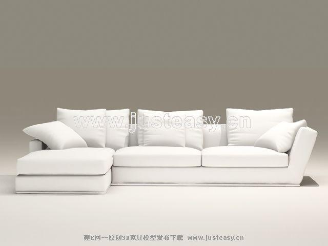 European-style combination of white and elegant sofa 3D Model