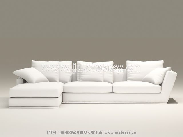European-style combination of white and elegant sofa 3D Model