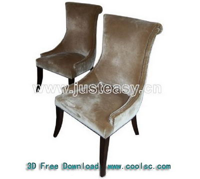 European-style dark-colored soft sofa chair 3D Model