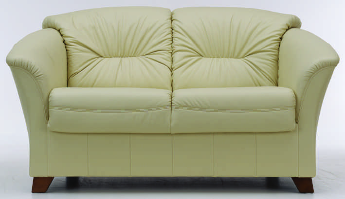 European-style double seats white leather sofa 3D Model