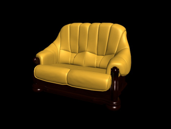 European-style double yellow leather sofa 3D Model
