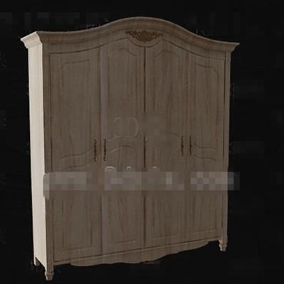 European style full-wood wardrobe 3D Model