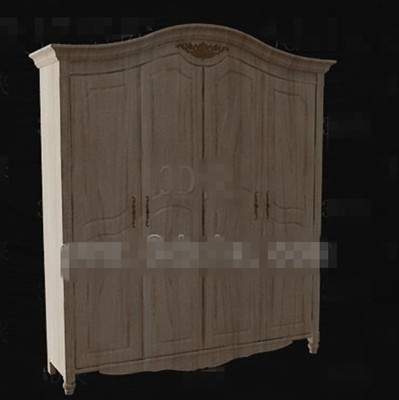 European style full-wood wardrobe 3D Model