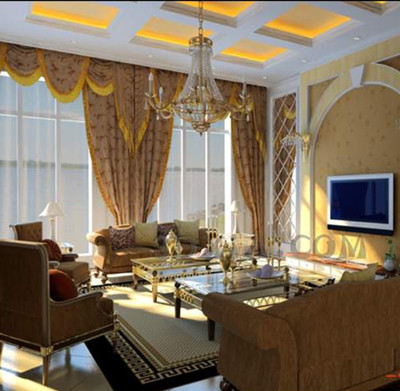 European-style golden theme living room 3D Model
