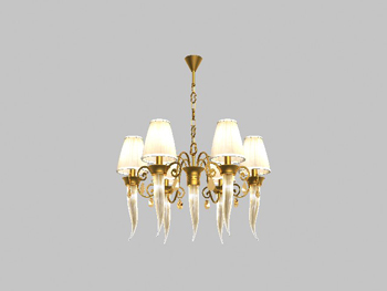 European-style golden yellow chandelier 3D Model