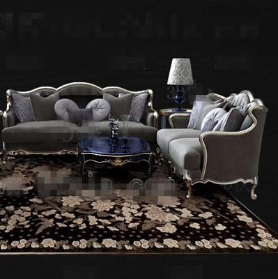 European-style gray sofa combination 3D Model