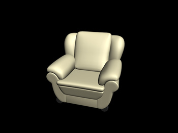 European-style leather single sofa 3D Model