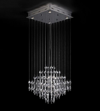 European style line curtain crystal chandelier 3D Model
