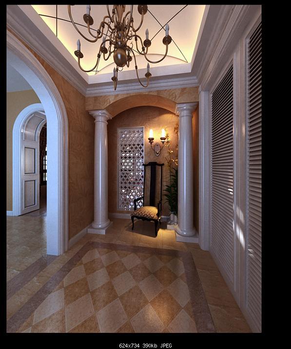 European Style Lobby Design 3D Model