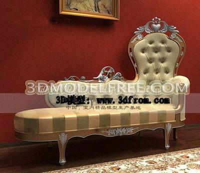 European-style luxury chaise lounge 3D model