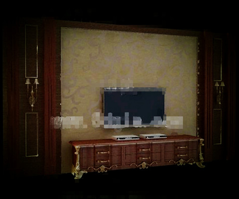 European style luxury gold TV wall 3D Model