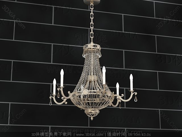 European-style metal chains chandelier 3D Model