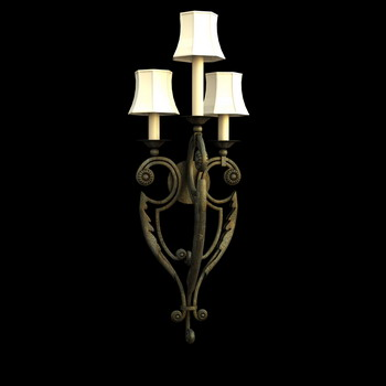 European style metal frame wall lamp 3D Model