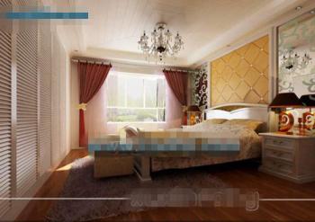 European style modern hardcover bedroom 3D Model